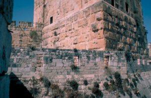 Vista de las tres torres de la fortaleza al Noroeste de Jerusalén